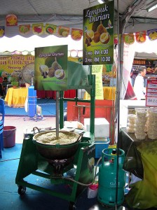 Durian products in the market place.