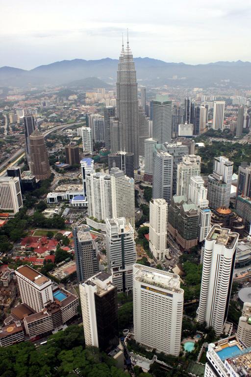The beautiful city of Kuala Lumpur as seen from Menara Kuala Lumpur.