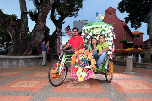 Trishaws are a common and popular form of transport in Melaka.